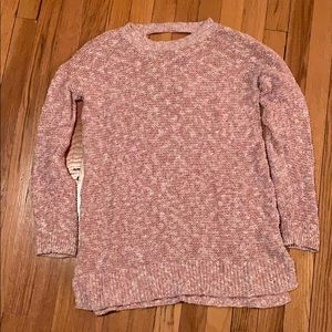 Pink and white maternity sweater with cross knit